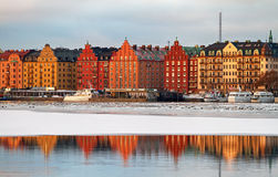 Waterfront Kungsholmen Stockholm in winter. Royalty Free Stock Photography