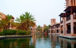 Waterfront Living. Individual villas that form part of the Dar al Masyaf hotel in Dubai stock photos