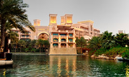 Waterfront Living 2. Part of the Al Qasr hotel in Madinat Jumeirah taken from a boat in the lake Stock Photos