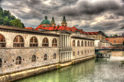 Waterfront in Ljubljana, Slovenia Royalty Free Stock Photo