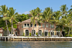 Waterfront luxury home royalty free stock photography