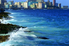 Waterfront Malecon-waves of the Atlantic. Havana the capital of the Republic of Cuba, by the Atlantic Ocean. Cuba - Isle of Freedom. Havana the capital of the Royalty Free Stock Photos