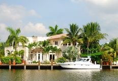 Waterfront mansion Stock Photo