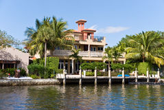 Waterfront Mansion On The Sea. Millionaire' S Esta. Te Royalty Free Stock Image