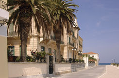 Waterfront Mansions on Spetses. Imposing waterfront houses on the Greek Island of Spetses Royalty Free Stock Images