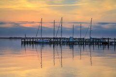 Waterfront Manteo North Carolina Outer Banks Sunrise Royalty Free Stock Image