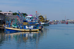 Waterfront marina full of commercial fishing boats Royalty Free Stock Photos