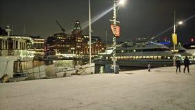 Waterfront marina at night Royalty Free Stock Photo