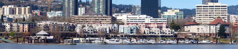 The waterfront marina panorama, Portland Oregon. Stock Photography
