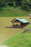 Waterfront Mon Home at Songkalia River , Sangkhlaburi Kanchanaburi in Thailand. Royalty Free Stock Photography