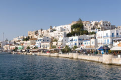 Waterfront in Naxos Greece. Buildings on the waterfront in Naxos, Greece Stock Images