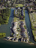 Waterfront Neighborhood Aerial Stock Images