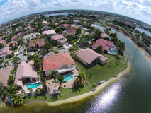 Waterfront neighborhood aerial view Stock Photos