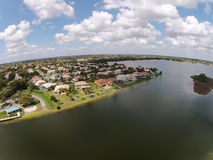 Waterfront neighborhood in Florida aerial Royalty Free Stock Image