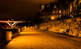 The waterfront at night in Alexandria, Virginia. Royalty Free Stock Images