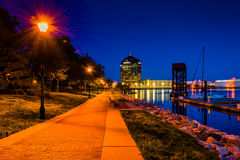 The waterfront at night in Canton, Baltimore, Maryland. Stock Photos