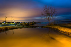 The waterfront at night, in Havre de Grace, Maryland. Stock Image