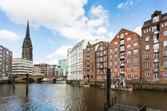 Waterfront of Nikolaifleet canal in Hamburg city Royalty Free Stock Photo