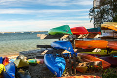 Waterfront with ocean kayaks Stock Photo