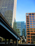 Waterfront office buildings. Next to modern city rail line stock photo
