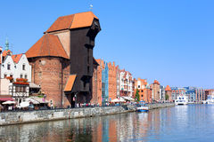 Waterfront with the old Crane (Zuraw) in Gdansk, Poland, 2014 09 Royalty Free Stock Photo