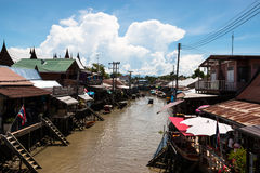 Waterfront old house in thai style. Outdoor, thailand, landmarks, river, travel, waterfront Stock Images