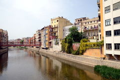 The waterfront of Onyar river during Temps de Flors & x28;Flower Fest Royalty Free Stock Image