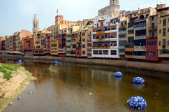 The waterfront of Onyar river during Temps de Flors & x28;Flower Fest Royalty Free Stock Photo