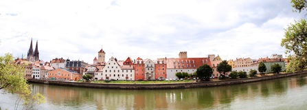 Waterfront panorama of historic regensburg, germany Stock Photography