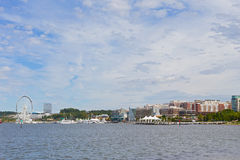 Waterfront panorama of National Harbor in Maryland, USA. Stock Images