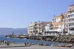 Waterfront Panorama of the picturesque Agios Nikolaos on Crete island stock photo
