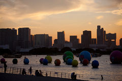 Waterfront Park. Tokyo Waterfront are located in the heart area of Odaiba Seaside Park, has a super view - Rainbow Bridge and Tokyo's only beach, but also the Royalty Free Stock Images