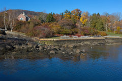 Waterfront park at Camden Maine. View of the waterfront park and footpath in Camden Maine late fall Royalty Free Stock Photos