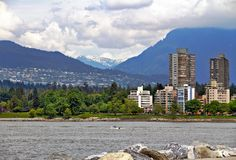 Waterfront park & Mountains Stock Photography