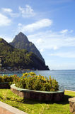 Waterfront park soufriere st. lucia view pit Stock Image