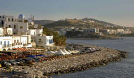 Waterfront at Paros. WS Waterfront bars & restaurants on the island of Paros Royalty Free Stock Images
