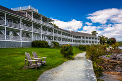Waterfront path and hotel in Bar Harbor, Maine. Stock Images