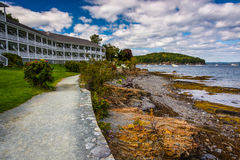 Waterfront path and hotel in Bar Harbor, Maine. Waterfront path and hotel in Bar Harbor, Maine stock images