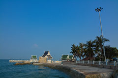 Waterfront pavillion at Bangsaen chonburi. Waterfront pavillion and blue sky at Bangsaen chonburi stock photography