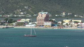 Waterfront scenery from Philipsburg, Saint Martin stock footage