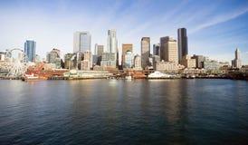 Waterfront Piers Dock Buildings Ferris Wheel Boats Seattle Stock Photos
