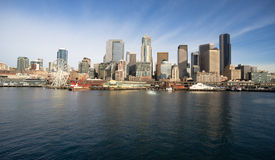 Waterfront Piers Dock Buildings Ferris Wheel Boats Seattle Stock Photo