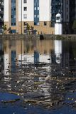 Waterfront Pollution and Lighthouse. Pollution on the Water of Leith, Edinburgh's waterfront Royalty Free Stock Image