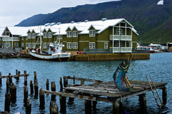 Waterfront and port at Siglufjordur harbor, Iceland Royalty Free Stock Photography