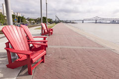 Waterfront Promenade in Baton Rouge, Louisiana. Waterfront promenade at the Mississippi River in Baton Rouge. Louisiana, United States royalty free stock photos