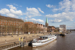 Waterfront promenade in Bremen, Germany Stock Photography