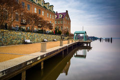 Waterfront promenade and condominiums along the Potomac River in Royalty Free Stock Image