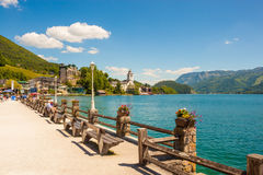 Waterfront promenade in St. Wolfgang on Wolfgangsee, Austria Royalty Free Stock Photos