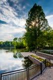 Waterfront Promenade at Wilde Lake in Columbia, Maryland. stock image