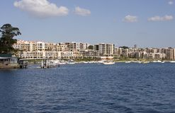 Waterfront Properties. Waterfront housing Stock Photo